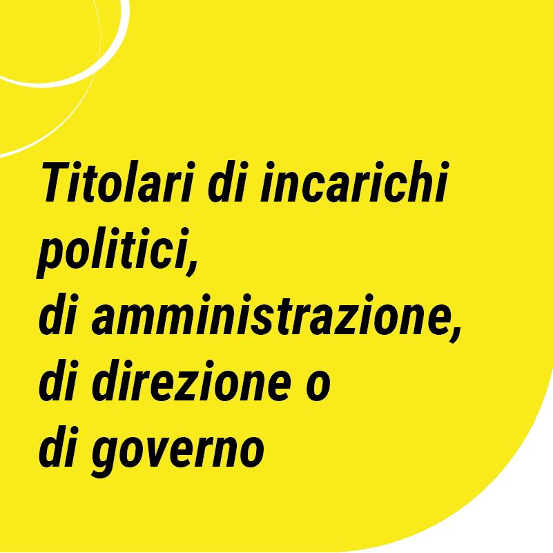 Titolari di incarichi politici, di amministrazione, di direzione o di governo